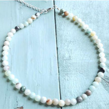Jewerly Junkie Women's Amazonite Choker Necklace