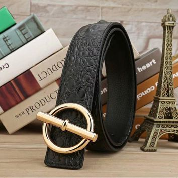 HERMES Woman Fashion Smooth Buckle Belt Leather Belt H-A-GFPDPF-2