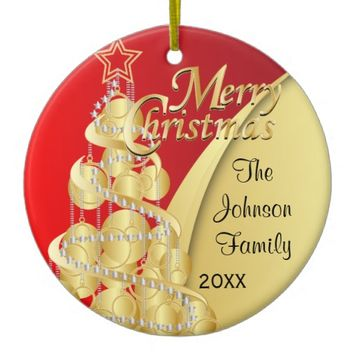 Elegant Red and Gold Christmas | Customize Round Ceramic Ornament