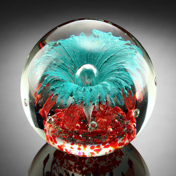 Teal Explosion Paperweight Glass Sphere 5""