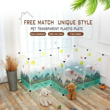 KIMHOME PET Dog House For Large Dogs Personality Pattern Free Assembly Transparent Plastic Plate Fence For Small Medium Dogs