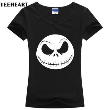 Cool The Nightmare Before Christmas Women cotton  T shirt Shirt Top Tee Black skull  Brand Plus Size Tees w046