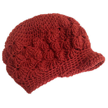 FREE SHIPPING - Crochet Slouchy Brim Hat - Terra Cotta Red Orange