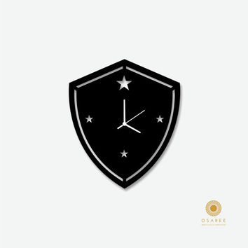 War Shield Pattern wall clock, Modern, Laser Cut, Wall, Art, Decor, Clock