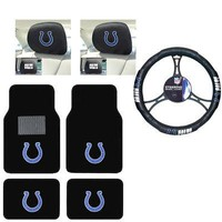 Licensed Official NFL Indianapolis Colts Car Truck Floor Mats Headrest Covers Steering Wheel Cover