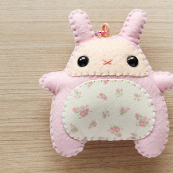 Pink Foral Felt Kawaii Cute Bunny plush Keychain - READY TO SHIP