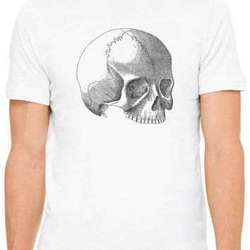 Austin Ink Apparel Skull Anatomy Illustration Short Sleeve Premium Cotton Fitted Unisex Mens T-Shirt
