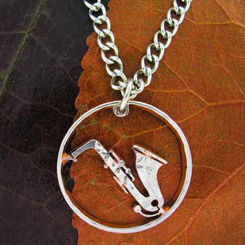 Saxophone player hand cut necklace-thin rim