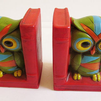 Vintage 70's Retro Pair of Colorful Owl Ceramic Bookends