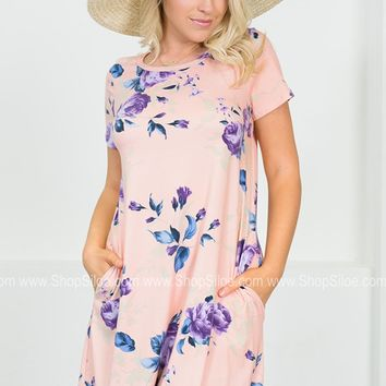 Floral Rose Pocket Dress | Peach | Plus