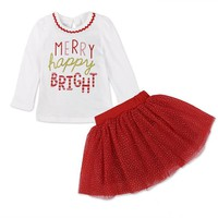 "Baby Girl Christmas ""Merry Happy Bright"" Long Sleeve Top & Mesh Skirt"