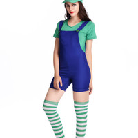 Color Block Mini Suspender with Hat