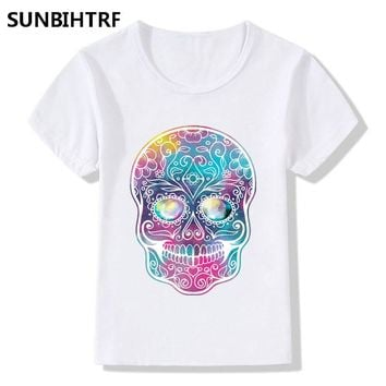 Beautiful Dream Star Skull Head Print T shirt Girls Casual Short Sleeve