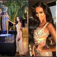 Sexy Spaghetti Straps Cut Out Waist High Side Split Champagne Gold Crystals Prom Dresses Backless Evening Dress Celebrity Gowns