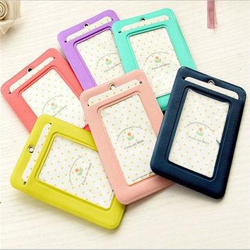 Name Badge Card Case Business Card Holder PU Leather passport Bus Card Cover with Buckle Neck Lanyard Company Office Supply