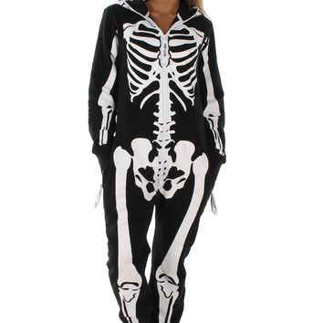Women's White and Black Skeleton Jumpsuit