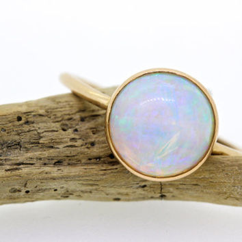 Antique Opal Ring |Stick Pin Stacking Ring | Bezel Set Ring | Recycled Rose Gold Gemstone Ring | Alternative Engagement Ring | Size 5.75