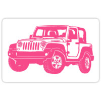 Pink Jeep wrangler drawing