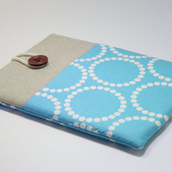 New Mac Book 12 inch Sleeve Mac book Air/Retina Mac book Pro Case Mac book Foam Padded Handmade Cover- Aqua Blue Pearls