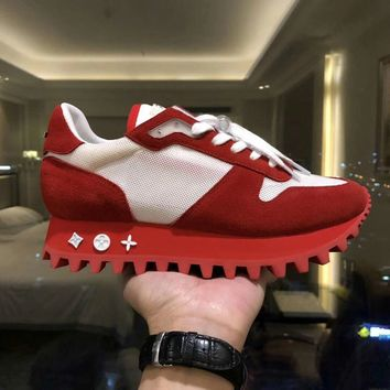 Louis Vuitton LV Women Men Fashion Casual Sports Shoes Red/White