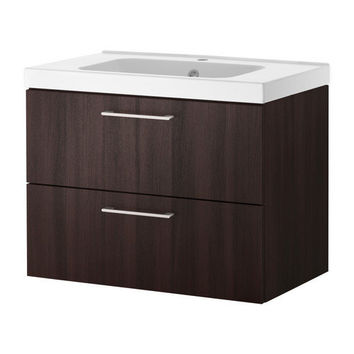 "GODMORGON/ODENSVIK Sink cabinet with 2 drawers - black-brown - 23 5/8x19 1/4x25 1/4 "" - IKEA"