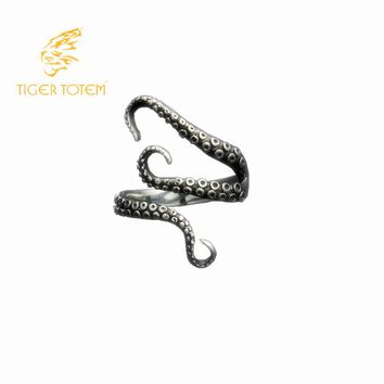 quality Titanium stainless steel cool Gothic Deep squid Octopus finger rings jewelry Adjustable sizes