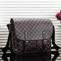 Louis Vuitton LV Fashion New Monogram Check Leather Couple Briefcase Shoulder Bag