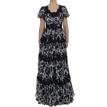 Dolce & Gabbana Black Silk Floral Lace Ricamo Ball Maxi Dress
