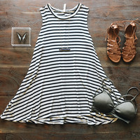 An Everyday Striped Swing Dress in Black and White