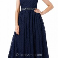 Embellished Illusion Pleated Evening Dresses by Adrianna Papell