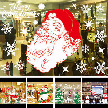 ClearanceChristmas Wall Stickers Christmas Decals Art Home Removable Mural Glass Window Decor