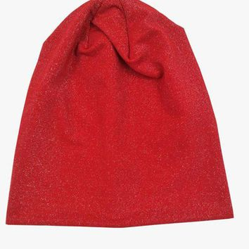 LMFCI7 B17829 2017Newest summer good Elastic fashion silver shimmer hats solid red knit skullcap hair accessories beanie for women hats