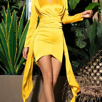 Living In Color Yellow Long Sleeve Cross Wrap V Neck Keyhole Back Ruched Draped Sash Bodycon Mini Dress