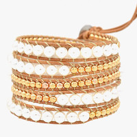 5 Times Wrap Bracelet---Pearl beads, Gold Plated Beads, Real leather Cord, 068