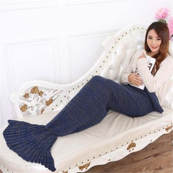 Warm Knitted Mermaid Blanket Princess Fish Tail Adult Sofa Sleeping Bag Autumn Soft Crochet Wrap Bedding