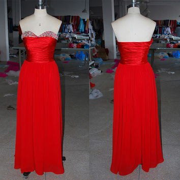 Sweetheart Neckline Red Chiffon Skirt Elastic Satin Bodice Beadings Long Prom Dress Formal Party Dress
