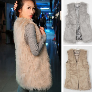 Faux Fur Body Warmer Women Lady Vest Waistcoat Gilet Sleeveless Jacket 2 Colors A_L = 1655769220