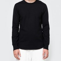Reigning Champ / Scalloped LS Crewneck in Black