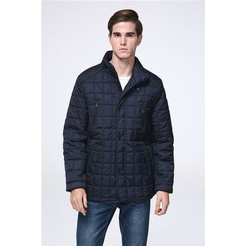 2017 Winter Warm Casual Men long Coat Padded Plus size Russia Parka Navy Black Padding Fashion Quilted Jacket with fur lining