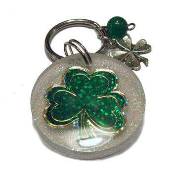 Shamrock Resin Keychain Charms Beaded Keychain Glitter Keychain Saint Patricks Day
