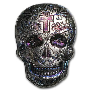 2 oz Hand-Poured Silver Skull - Day of the Dead: Cross