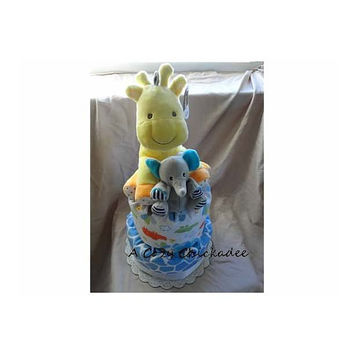2 Tier Baby Jungle Animals Diaper Cake