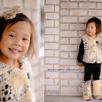 Furry Vest and Boot Set for Toddler, Baby Girls