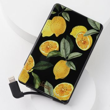Lemon Zest Clear and Yellow Print Pick Me Up Portable Charger