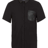 Black Leather Look Yoke Short Sleeve Shirt - Men's Shirts - Clothing - TOPMAN USA