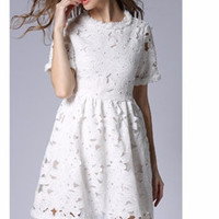 A-Line Floral Hollow Embroidery Lace Dress