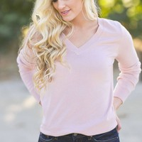 Danielle Pink V-Neck Sweater