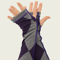 Arm Warmers in Grey and Purple Argyle  - Recycled Merino Wool