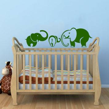 Mom and Baby Elephant Animal Wall Vinyl Decal Sticker Children Boy Girl Kids Baby Room Nursery Design Interior Decor Bedroom SV5317