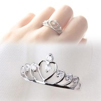 Fine Jewelry  Fashion Hollow Out Heart&amp Crown Shaped Ring Rhinestone Gold&amp Silver Color